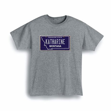 Personalized State License Plate Shirts - Montana