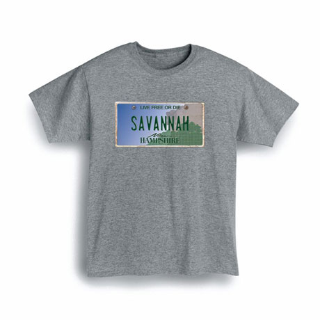 Personalized State License Plate Shirts - New Hampshire