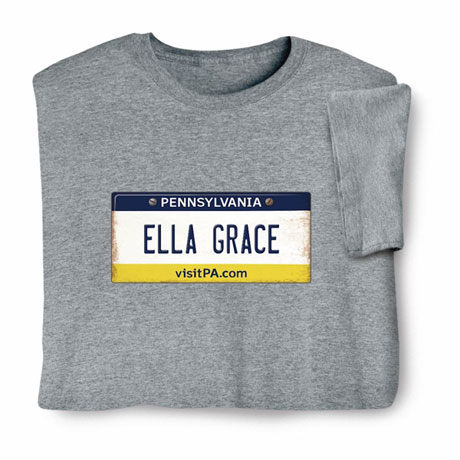 Personalized State License Plate Shirts - Pennsylvania