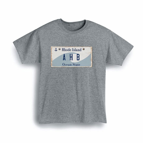 Personalized State License Plate Shirts - Rhode Island