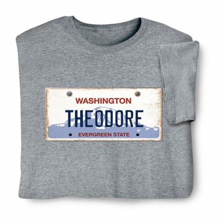 Personalized State License Plate Shirts - Washington