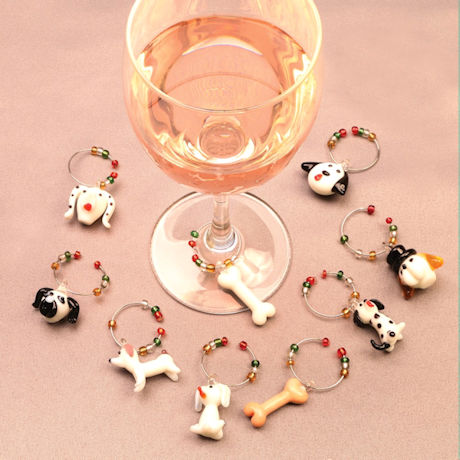 Dog Wine Charms With Tree