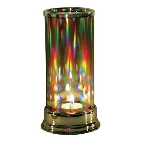 Crystal Prism Candle Holder with Hurricane Holographic Film