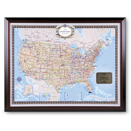 Personalized USA Traveler Map Set - Framed