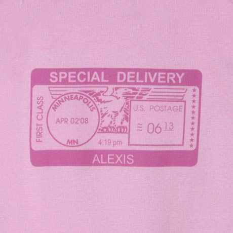 "Personalized ""Special Delivery"" Postmark One-Piece Bodysuit - Pink"