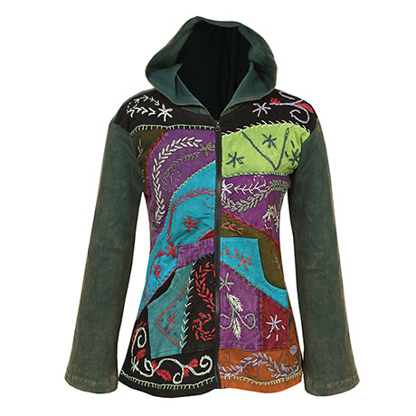 Embroidered Full-Zip Hoodie Sweatshirt Women's Patchwork Folk Art Design