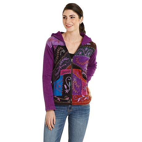 Folk Art Hand-Embroidered Zip Front Hoodie