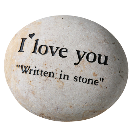 "I Love You ""Written in Stone"" Carved and Sandblasted"