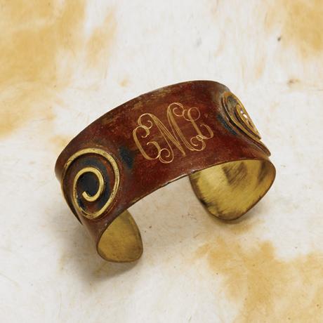 Monogrammed Brass Cuff Bracelet