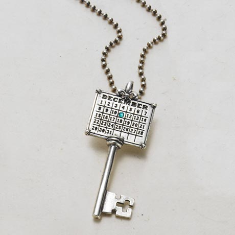 Personalized Your Special Day Key Pendant - Antique Silver