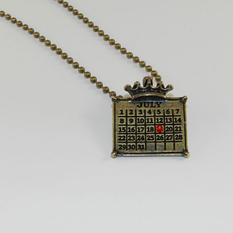 "Personalized Calendar Crown Pendant W/ 30"" Ball Chain"