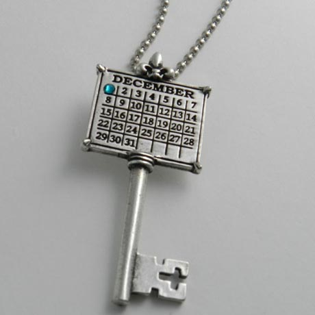 "Personalized Calendar Key Sterling Silver Charm W/24"" Ball Chain"