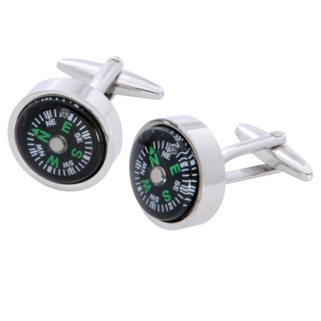 Compass Cufflinks With Personalized Case