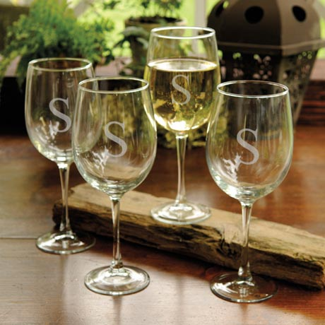 Personalized White Wine Glasses Set/4