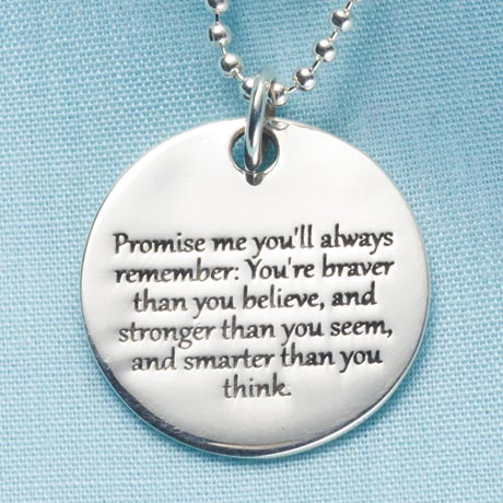 Promise Me Pendant for Women in Sterling Silver Engraved Christopher Robin Quote