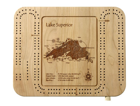 Personalized Etched Lake Cribbage Board