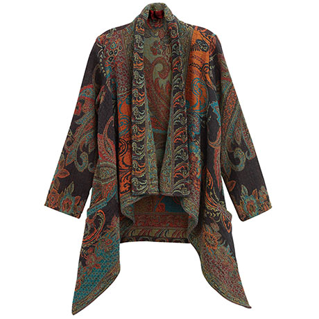 Paisley Wool Waterfall Jacket for Women Open Front Partially Lined