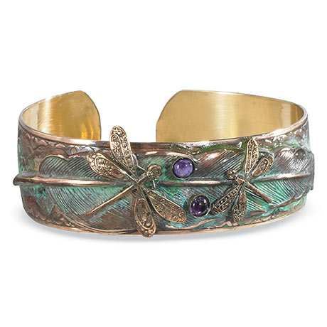Verdigris Dragonfly Cuff Bracelet