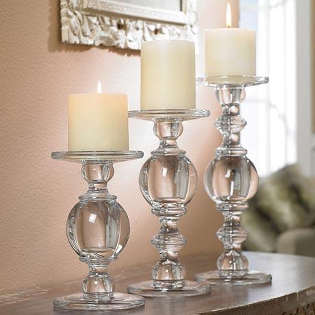 Glass Baluster Candlesticks - Set Of 3