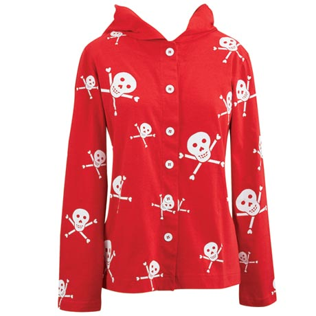 Skull and Crossbones Hooded Shirt Jacket