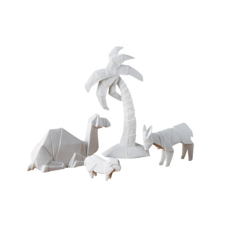 Porcelain Origami Nativity Scene - Camel, Donkey, Sheep & Palm Tree