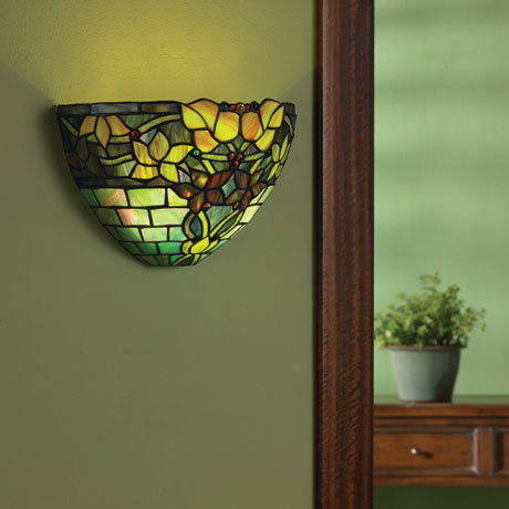 Art Gl Wall Sconce Battery Operated With Remote Control Jewel Tones