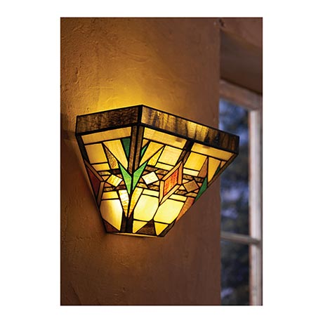 Battery Operated Stained Glass Wall Sconces : Mission Art Glass Wall Sconce in Stained Glass Battery Operated with Wireless Remote Control at ...