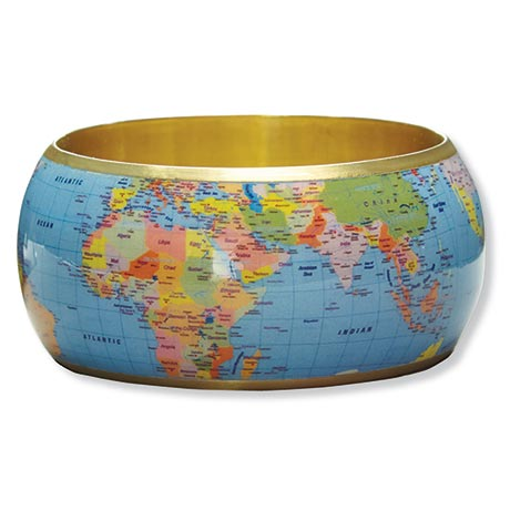 World Map Bangle Bracelet