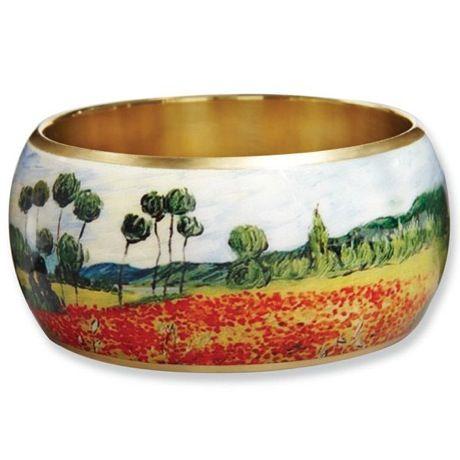 Fine Art Brass Bangle - Van Gogh Poppy Field