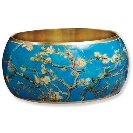 Fine Art Brass Bangle - Van Gogh Almond Blossoms