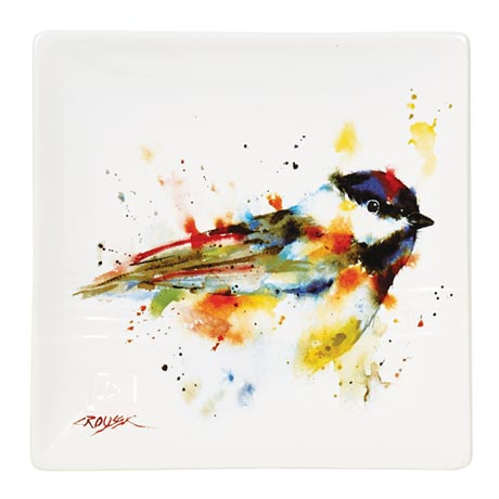 Wild Birds Snack Plate with Watercolor Images By Artist Dean Crouser 7""