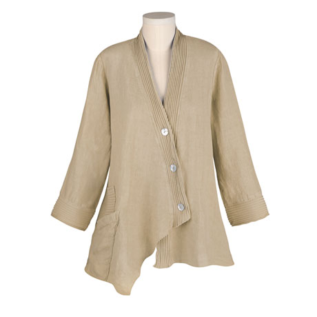 Ribbed Trim Linen Jacket