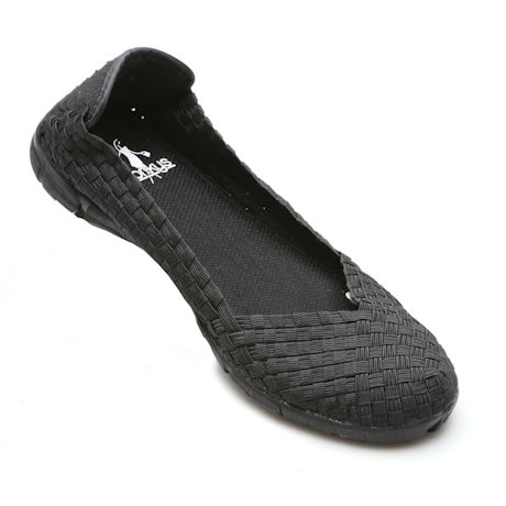 Stretch Ballet Woven Flat Shoes Slip-On for Women