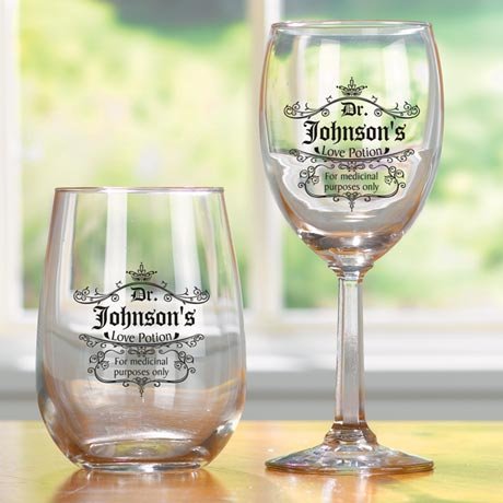 Personalized Love Potion Wine Glasses - No Stem