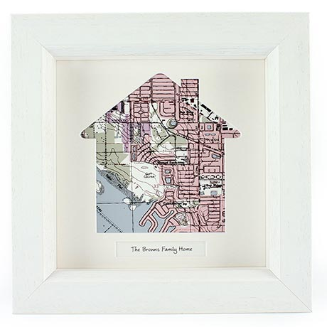 Personalized Framed House Map Wall Decor