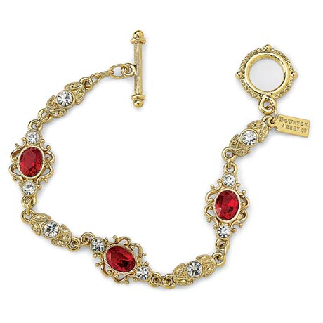 Downton Abbey Ruby Red Gold Filigree Link Bracelet