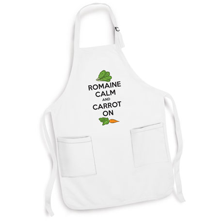 Romaine Calm And Carrot On Apron with Cooking Pun in White