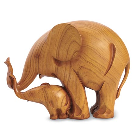 Mother and Baby Elephant Sculpture