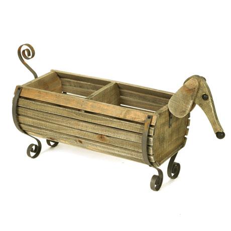 Wooden Dachshund Dog Planter