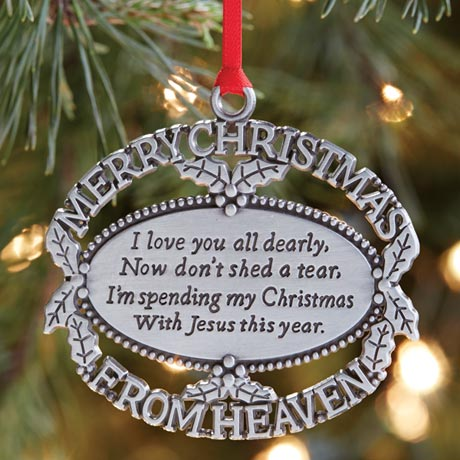 Merry Christmas from Heaven® - Pewter Oval Ornament With Engraving Christmas Ornament
