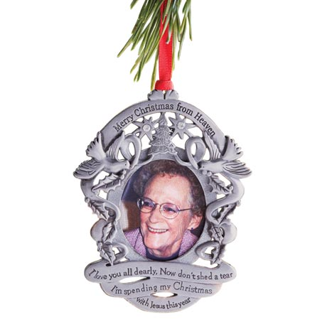 Merry Christmas from Heaven® - Photo Remembrance Ornament With Engraving