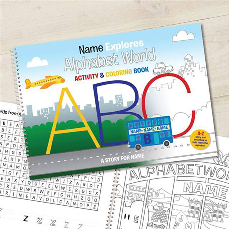 Personalized Alphabet World Color-In Activity Book