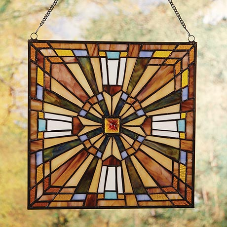 "Stained Glass Cross Art in Mission Style 12"" Square"