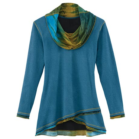 Cowl-Neck Crossover Tunic Top in Blue Watercolor Print for Women
