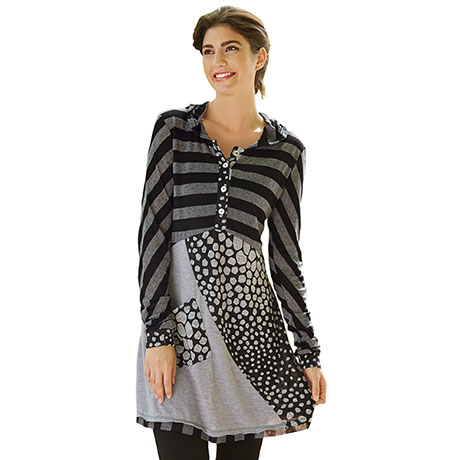 Striped Hooded Tunic Top