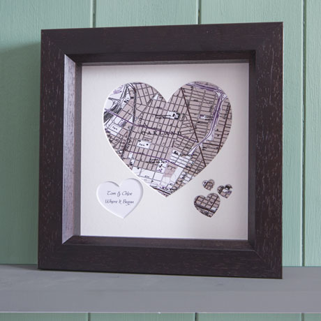 Customized To Any Location Framed Heart Map