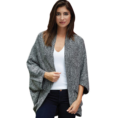 Marled Sweater Knit Sleeved Shawl or Shrug for Women