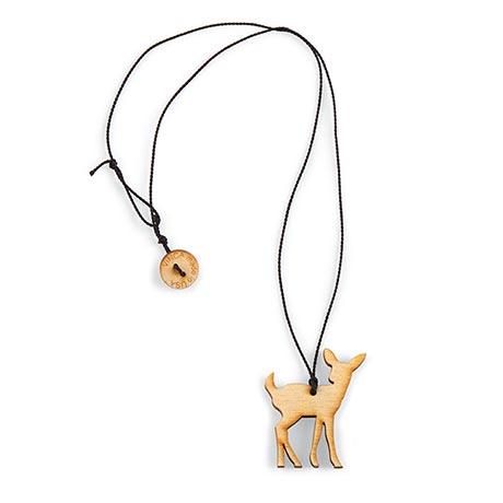 Wood Deer Necklace