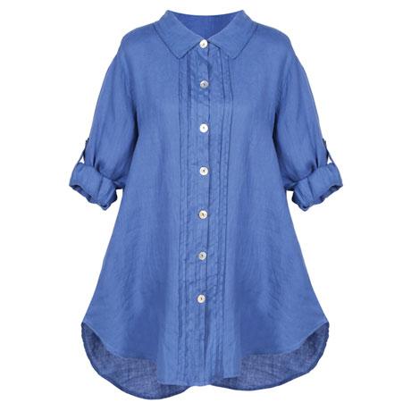 Pleated Linen Tunic Top
