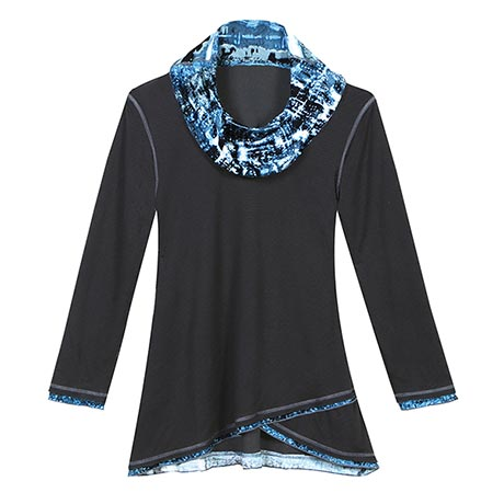 Cowl Neck Tunic Top with Watercolor Print for Women